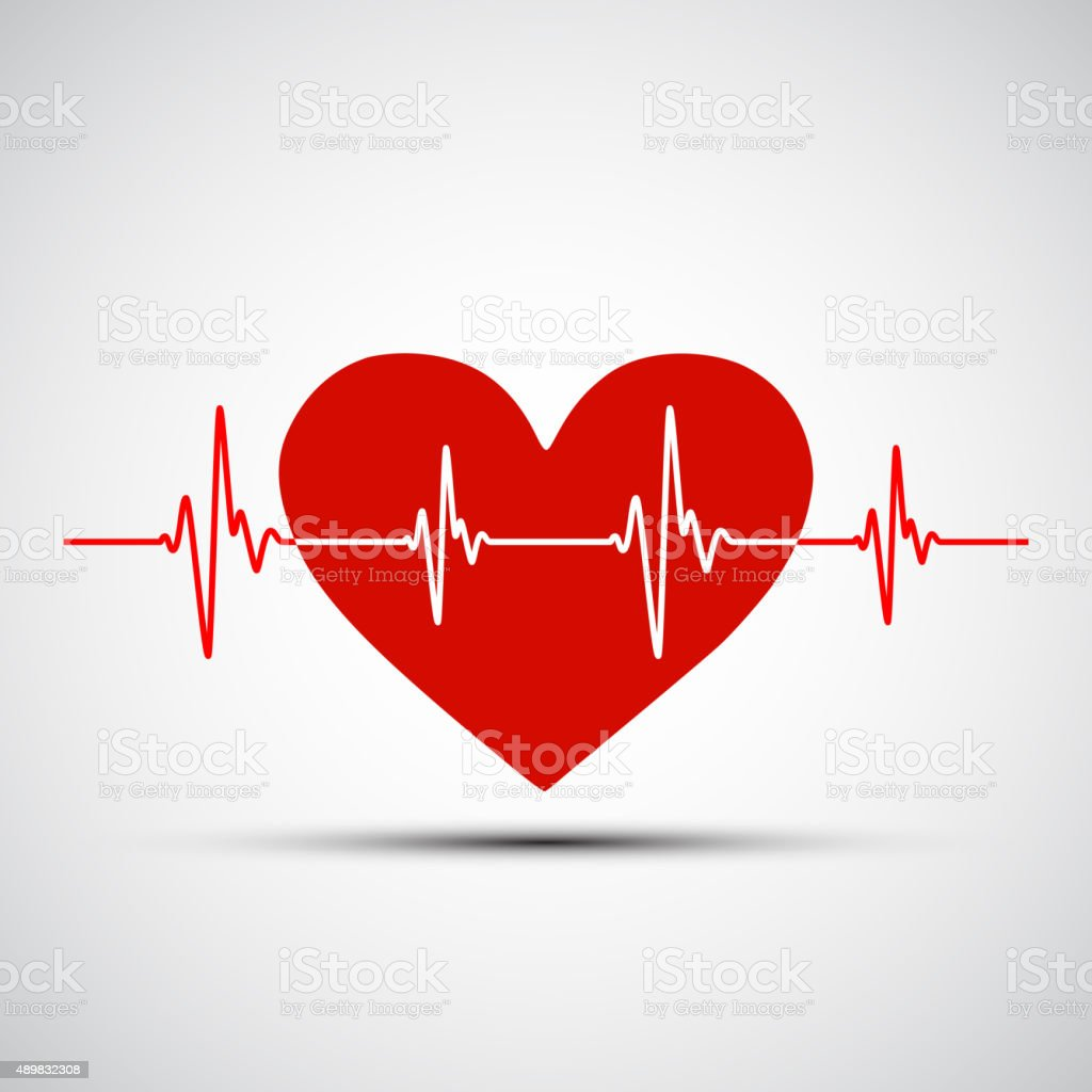 Vector image of the human heart and the encephalogram vector art illustration