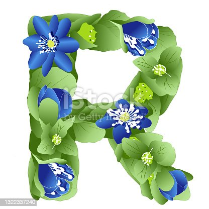 istock vector image of the letter R of the English alphabet made in the form of flowers and leaves of liverwort 1322337240
