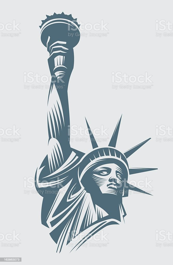 Vector image of the Statue of Liberty on a white background vector art illustration