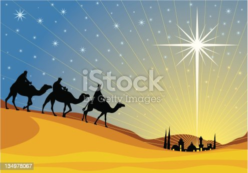 istock Vector image of the three Magi and the Star of Bethlehem 134978067