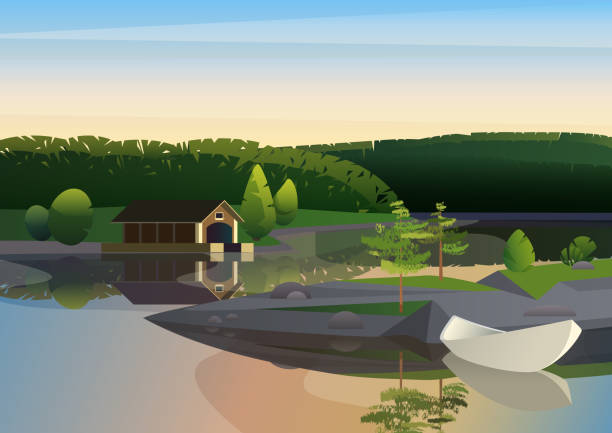 Vector image of tranquil landscape with remote house dock and sailing boat on shore of lake in green nature. Vector image of tranquil landscape with remote house dock and sailing boat on shore of lake in green nature lakeshore stock illustrations