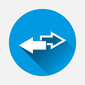 Vector image of two arrows. Right arrow and left arrow. The icon shows the direction on blue background. Flat image with long shadow. Layers grouped for easy editing illustration. For your design.