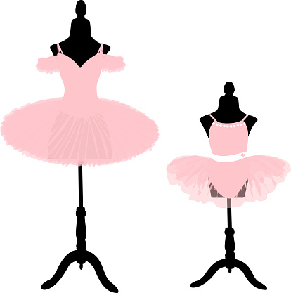 vector image of two ballet tutus on tailor's mannequins