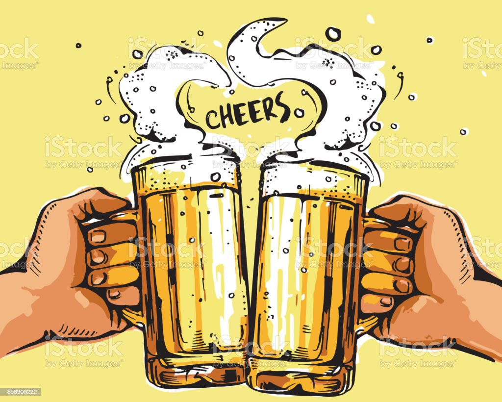 Vector image of two hands holding beer mugs. Drinks with a lot of foam forming a heart shape. Cheers. vector art illustration