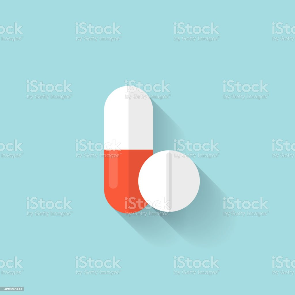 Vector image of two medicine tablets on blue background vector art illustration