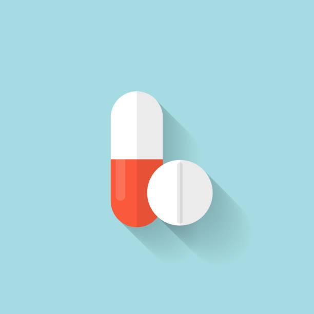 illustrazioni stock, clip art, cartoni animati e icone di tendenza di pillole mediche icona piatto. compresse simbolo. health assistenza - antibiotico