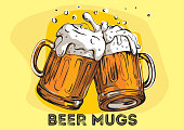 Two beer glasses with foam. Hand drawn illustration.