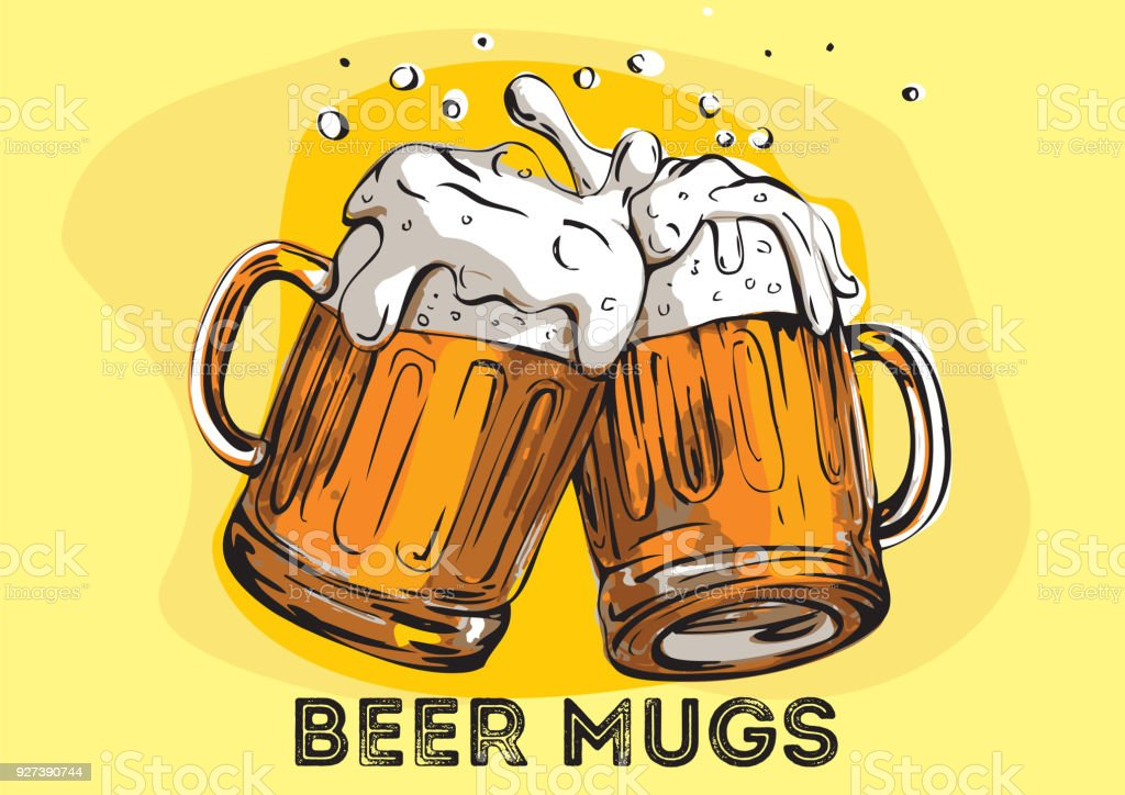 Vector image of two mugs of beer. Drinks with a lot of foam. - illustrazione arte vettoriale