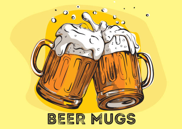 Vector image of two mugs of beer. Drinks with a lot of foam. Two beer glasses with foam. Hand drawn illustration. beer stock illustrations