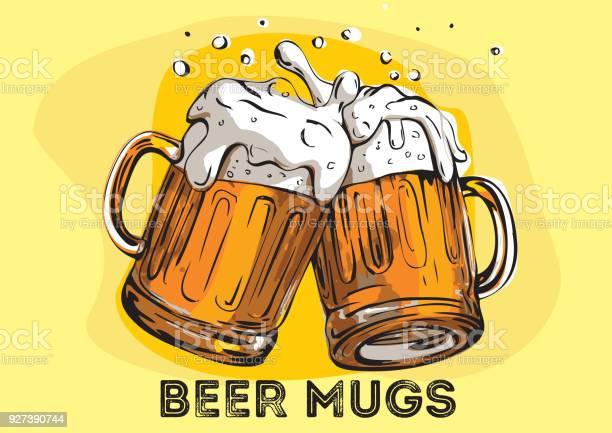 Vector Image Of Two Mugs Of Beer Drinks With A Lot Of Foam — стоковая векторная графика и другие изображения на тему Алкоголь - напиток