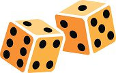 Vector image of two stylized rolling dice