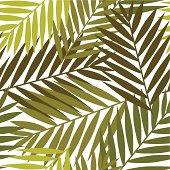 Palm leaves  background in autumn colors. Repetition.