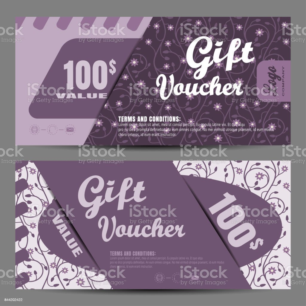 Vector image of voucher on the dark lilac background with floral pattern. vector art illustration