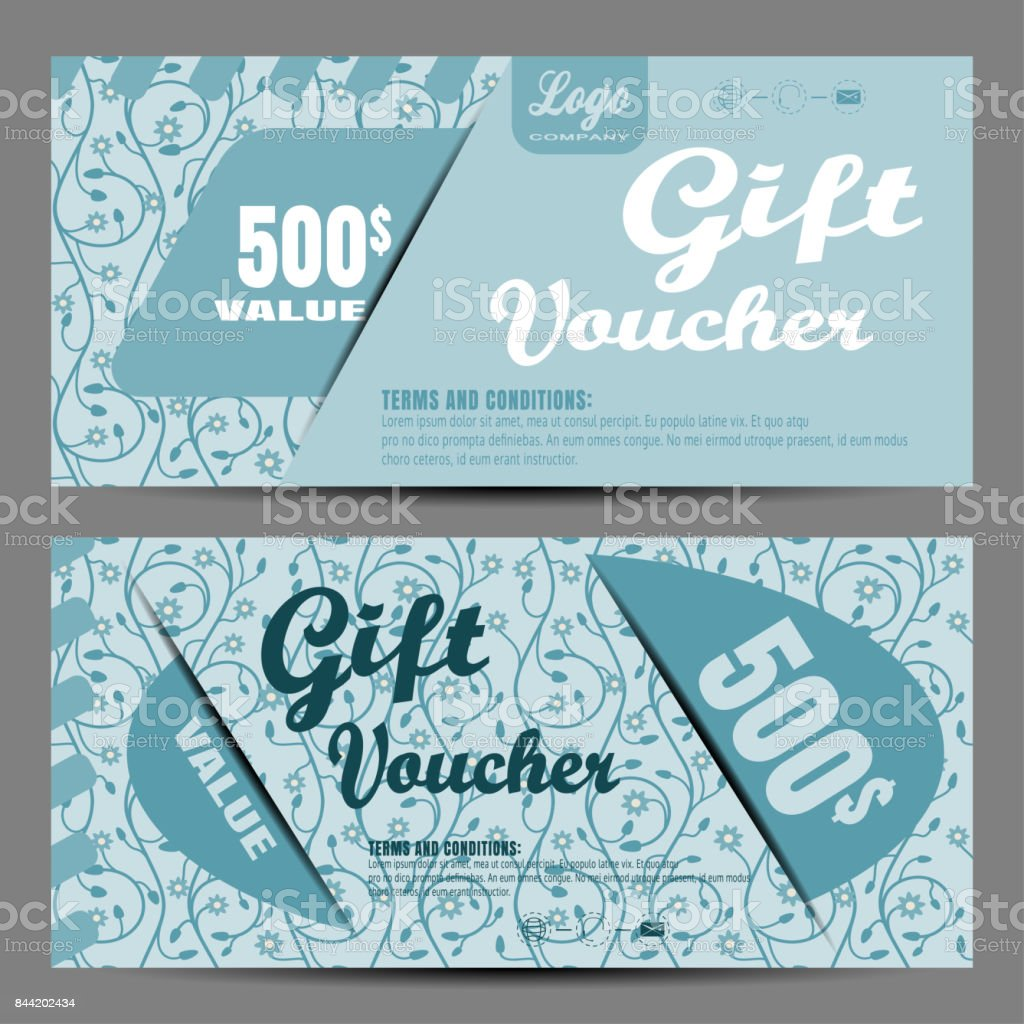 Vector image of voucher on the light turquoise background with floral pattern. vector art illustration