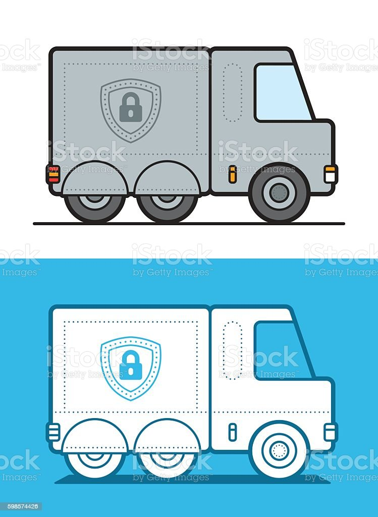 Vector image of white and gray armored security trucks vector art illustration