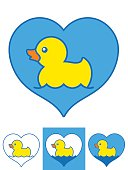 Vector image of yellow rubber ducks swimming in hearts