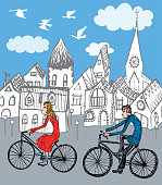 Vector image of young people biking around the city.