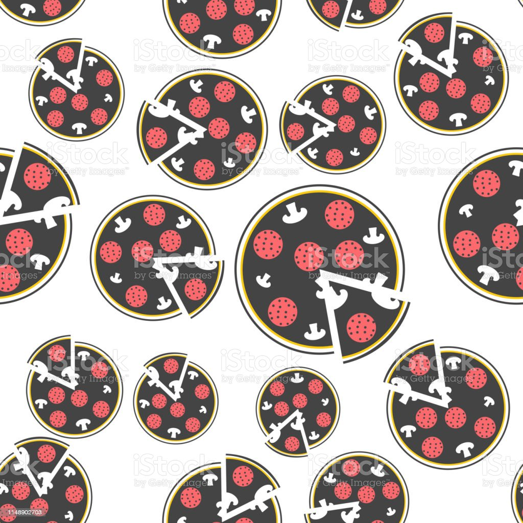 Vector image pizza. Fast Food. Pizza\'s slice seamless pattern on a...