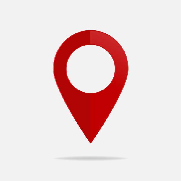 ilustrações, clipart, desenhos animados e ícones de imagem vetorial no mapa. ícone de marca. ícone vermelho local soltar pino sobre um fundo claro - infográficos de site