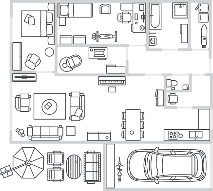 Vector image set of furniture, appliances and car