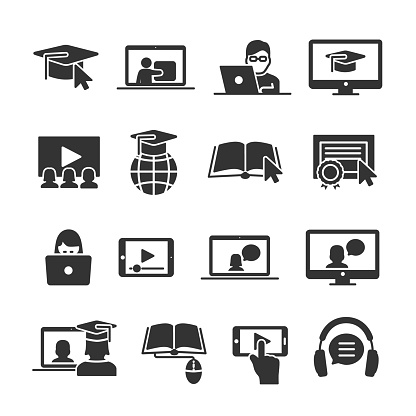 Vector image set of online education icons.