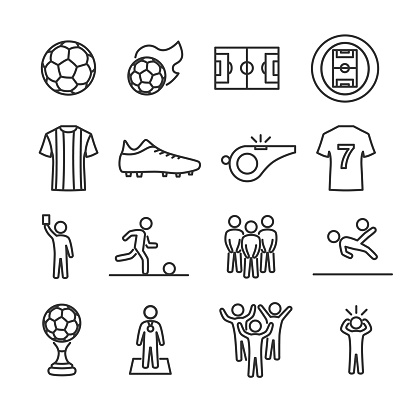 Vector image set of soccer line icons.