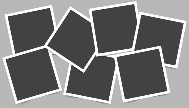 stockillustraties, clipart, cartoons en iconen met vector afbeelding set vierkante frames voor foto's. iconen van lege realistische fotolijsten - polaroid