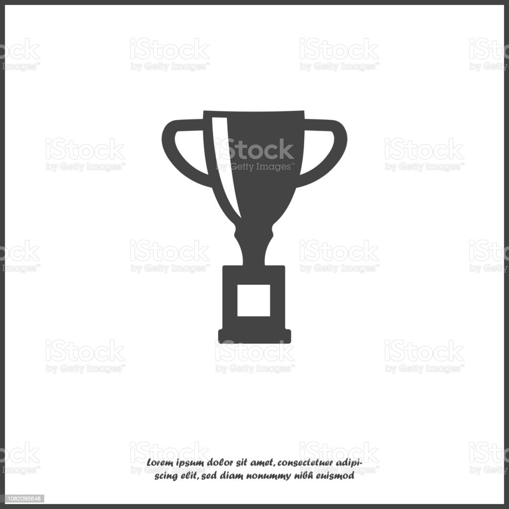 Vector image trophy cup. Cup symbol of winning, encouraging, receiving a prize. Award on white isolated background. Layers grouped for easy editing illustration. For your design. vector art illustration