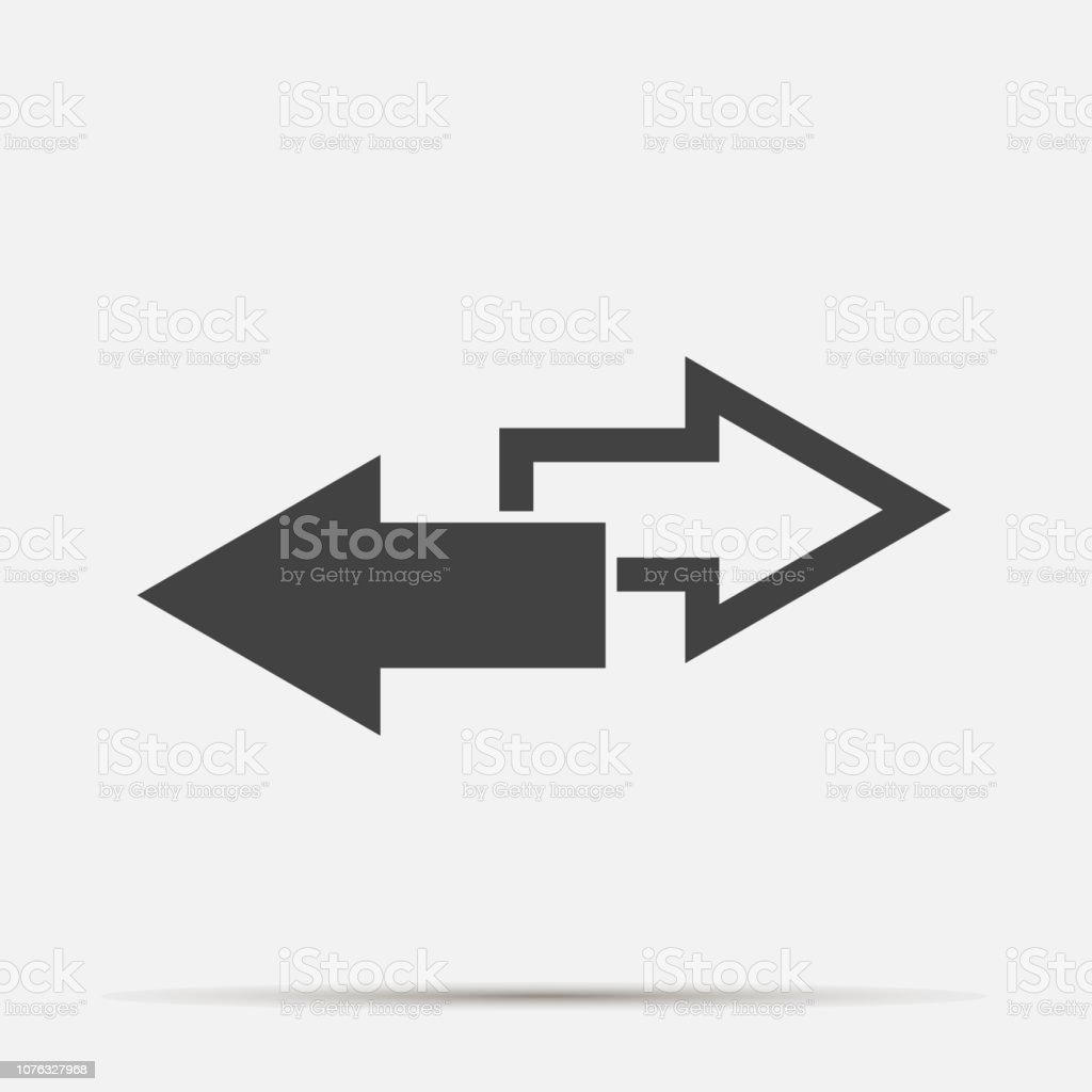 Vector image  two arrows. Right arrow and left arrow. The icon shows the direction on gray background.  Layers grouped for easy editing illustration. For your design.