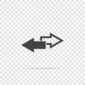 Vector image two arrows. Right arrow and left arrow. The icon shows the direction on transparent background.