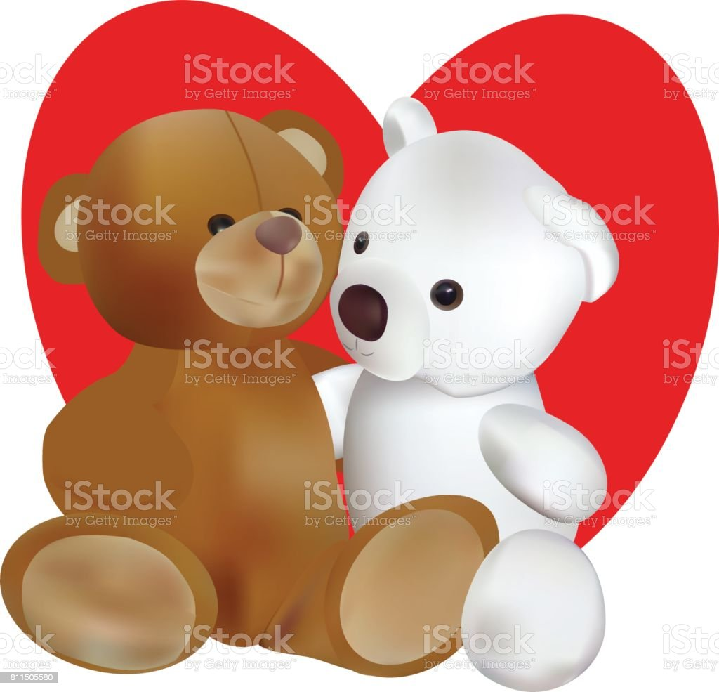 Vector image, two teddy bears. vector art illustration