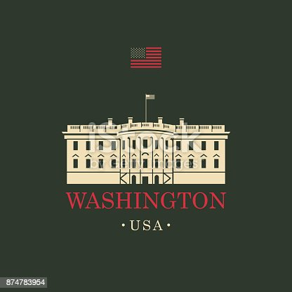 Vector travel banner. The presidential residence the White house in Washington, DC. USA landmark with american flag