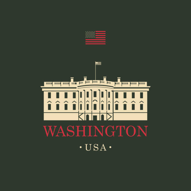 Vector image US White house in Washington DC Vector travel banner. The presidential residence the White house in Washington, DC. USA landmark with american flag white house stock illustrations