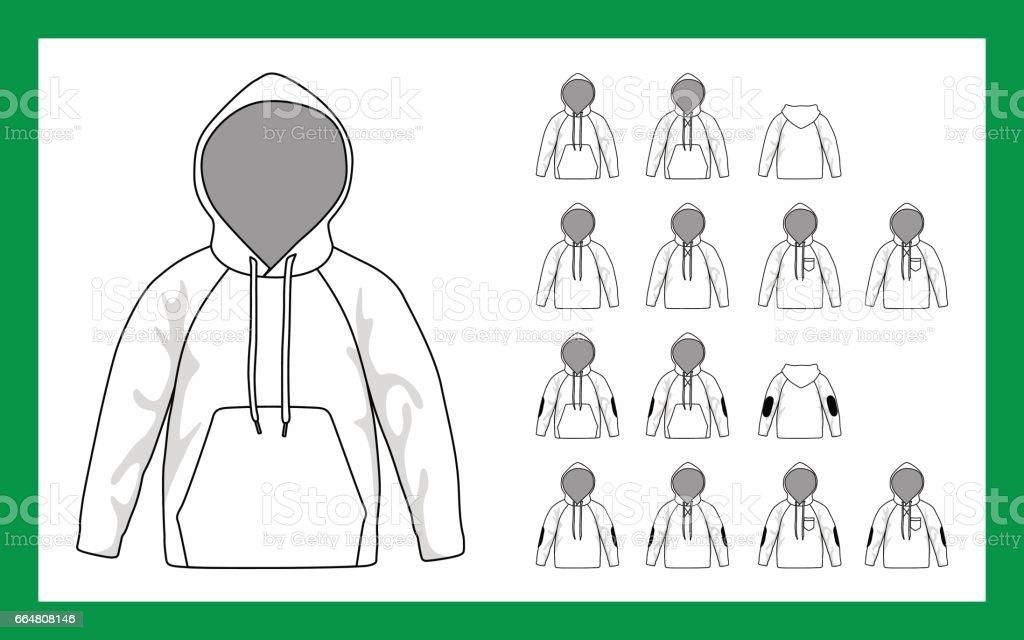Vector image versions children sweatshirt with hooded sleeves raglan cuffs pockets stripe on elbows vector art illustration