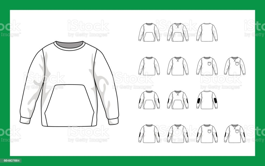 Vector image versions kids sweatshirt with sleeves raglan cuffs pockets stripe on elbows vector art illustration