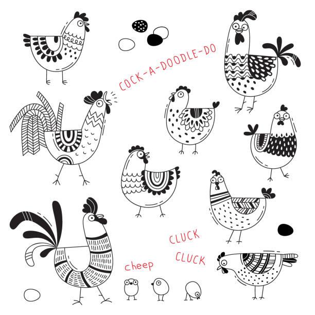 bildbanksillustrationer, clip art samt tecknat material och ikoner med vektorbilder av kycklingar, hönor, tuppar, ägg i tecknad stil, linje konst. element för design täcka matpaket, annonsering av banret, kort - höna