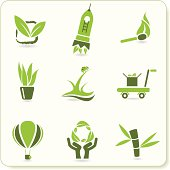 Green ecological symbols.
