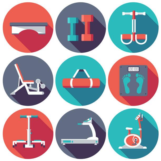bildbanksillustrationer, clip art samt tecknat material och ikoner med vector images of gym equipment - balpress
