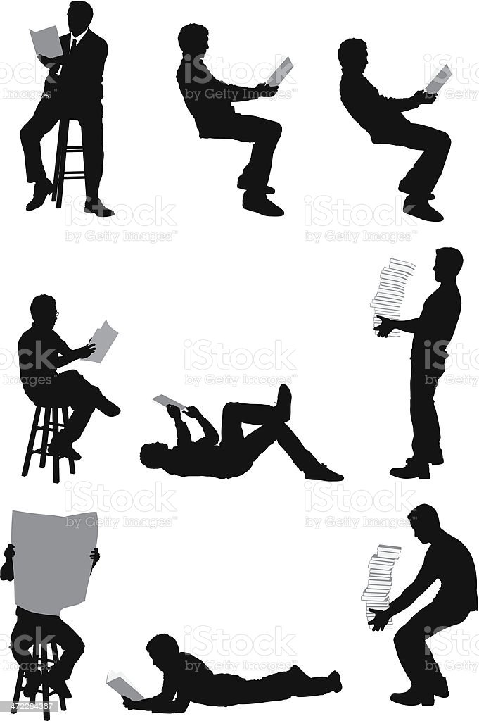 Vector images of men reading and carrying books royalty-free stock vector art
