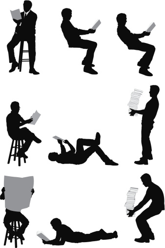 Vector images of men reading and carrying books