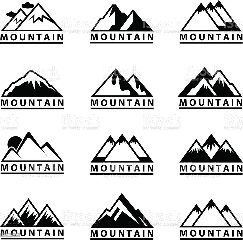 Vector images of mountain icons vector art illustration