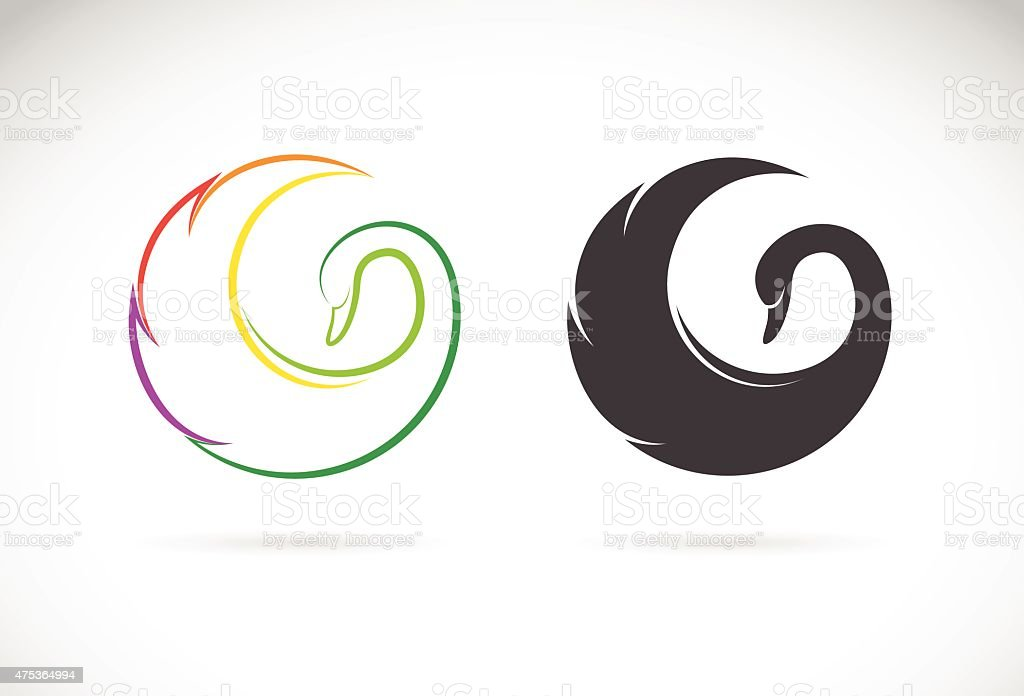 Vector images of swan design on a white background. vector art illustration