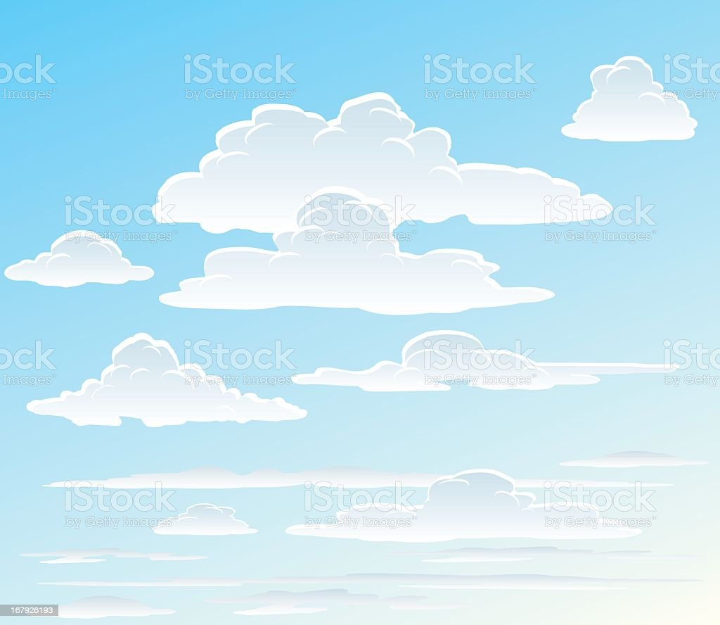 Vector images of white clouds in the sky vector art illustration