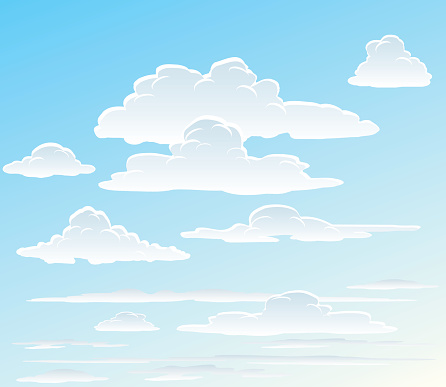 Vector Images Of White Clouds In The Sky Stock Illustration - Download Image Now