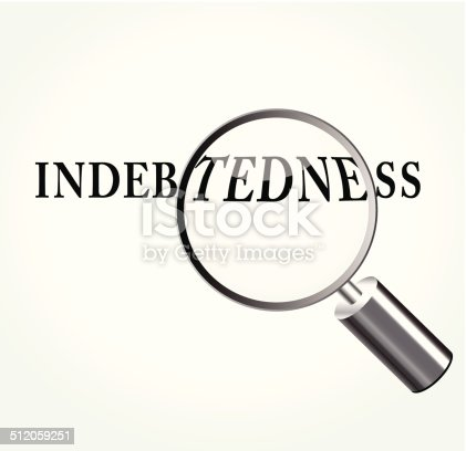 Vector illustration of indebtedness abstract concept with magnifying