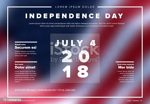 Vector independence day banner poster template with american flag in the background