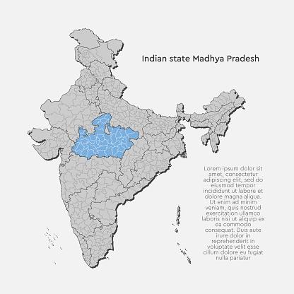 Vector India country map and state Madhya Pradesh