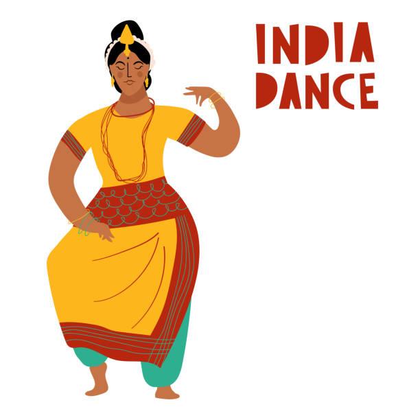 vektor-indien-tanz-frau. bollywood style tänzer weißen hintergrund isoliert - kultfilme stock-grafiken, -clipart, -cartoons und -symbole