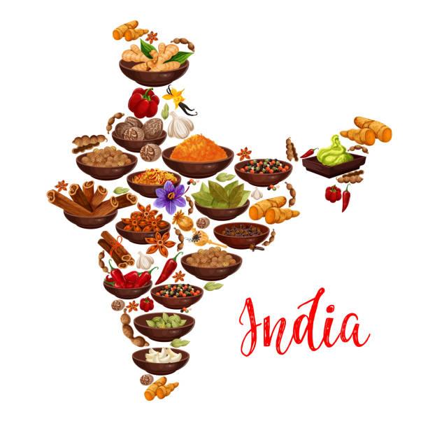 ilustraciones, imágenes clip art, dibujos animados e iconos de stock de mapa de india del vector de especias de la india - comida india
