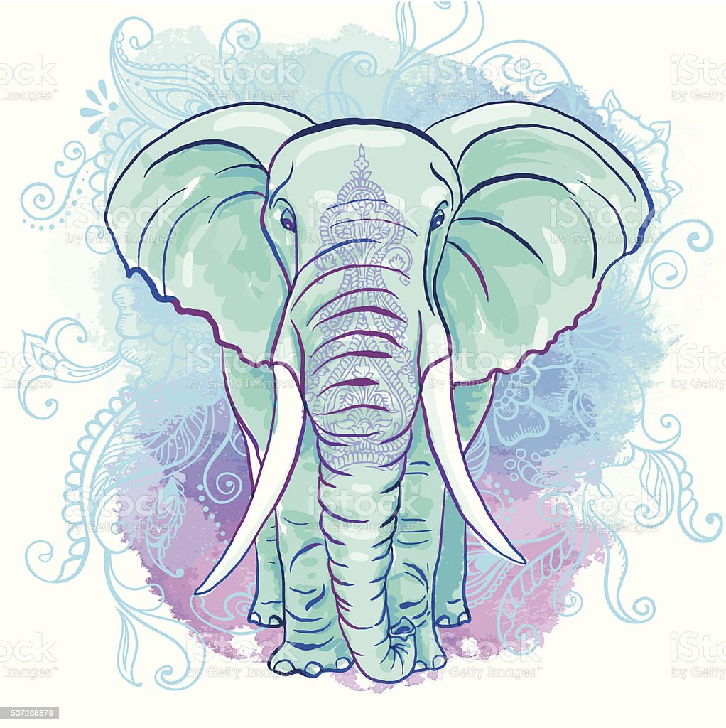 Vector Indian Elephant on the Watercolor Blot royalty-free stock vector art
